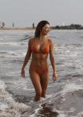 Arianny Celeste in an orange bikini spotted at the beach in Venice, California