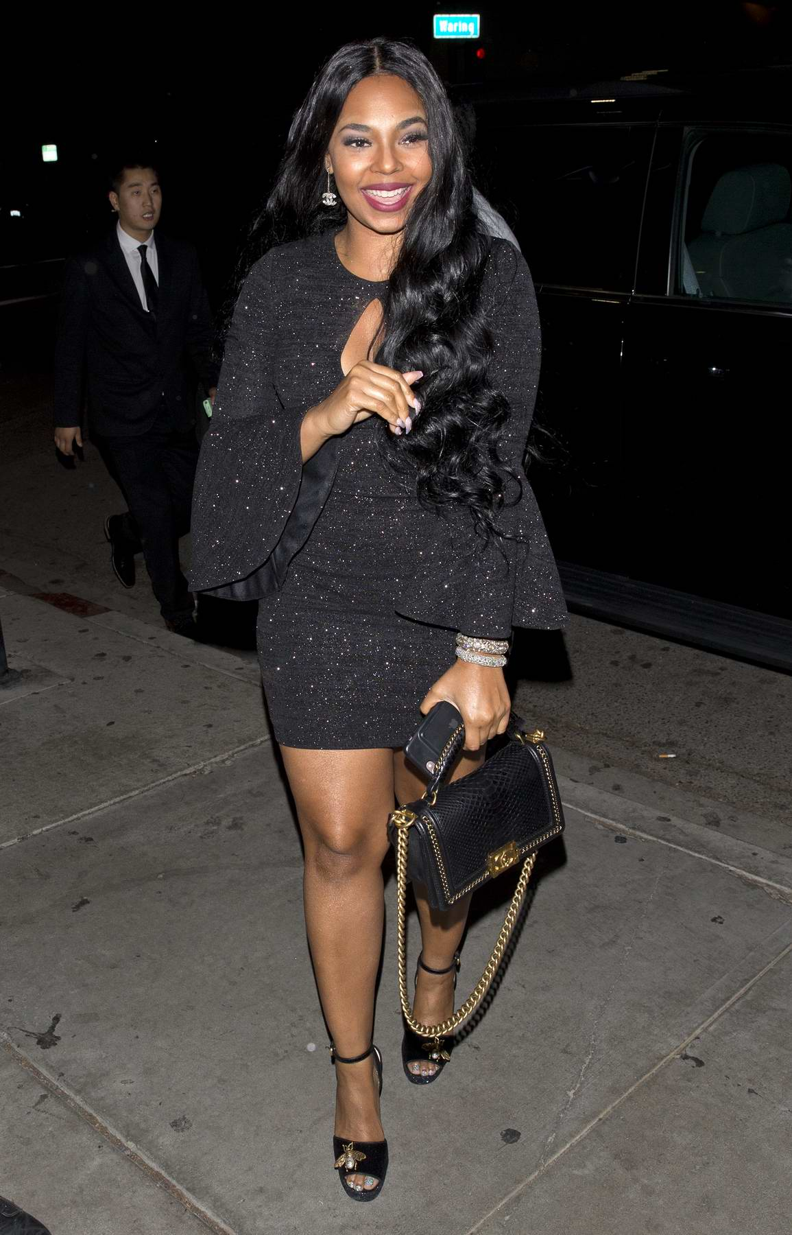 Ashanti was seen arriving to Poppy night club in West Hollywood, Los Angeles