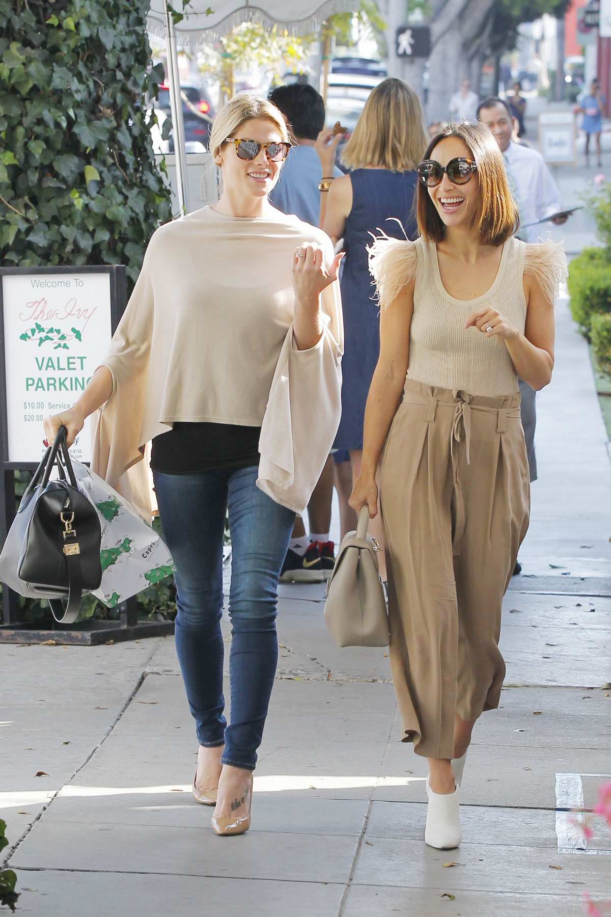 Ashley Greene and Cara Santana out after lunch at the Ivy in West Hollywood, Los Angeles