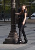 Barbara Palvin at the Arc de Triomphe on a photoshoot for L'Oreal in Paris, France