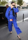 Bella Hadid arrives for a photoshoot during Paris Fashion Week in Paris, France