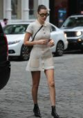 Bella Hadid in a woolen short dress heads to a meeting in New York City