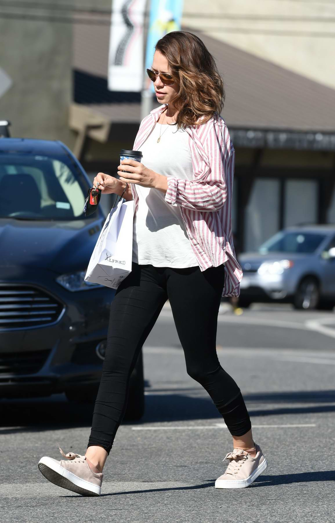 Bethany Joy Lenz dodges traffic on her way to the coffee shop in Los Angeles