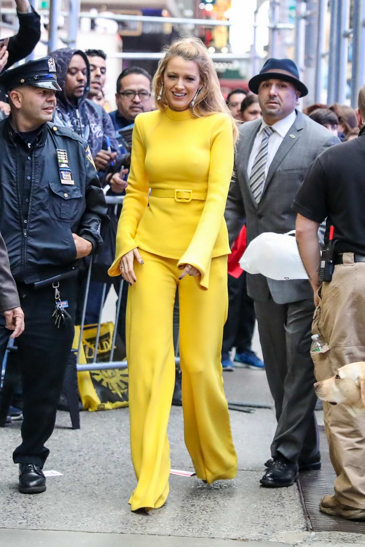 Blake Lively is seen outside a television studio in Times Square area in New York City