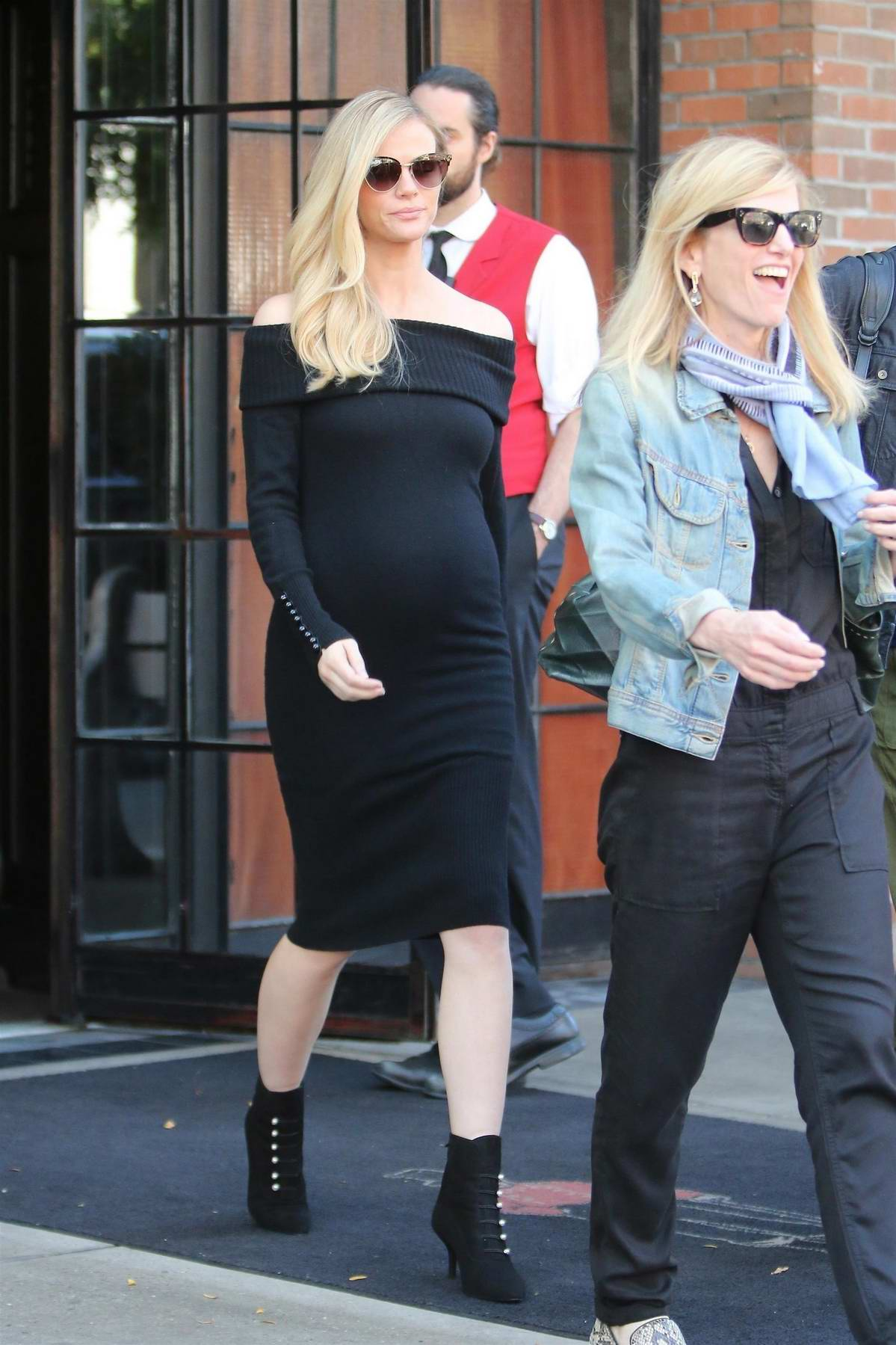 Brooklyn Decker dressed in all black leaving The Bowery Hotel in New York City