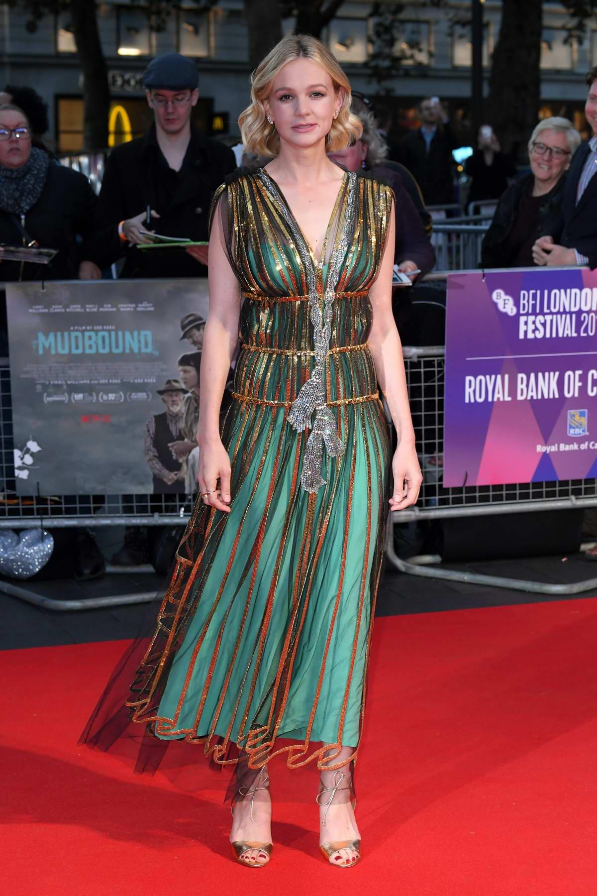 Carey Mulligan attends Mudbound film premiere during BFI London Film Festival in London