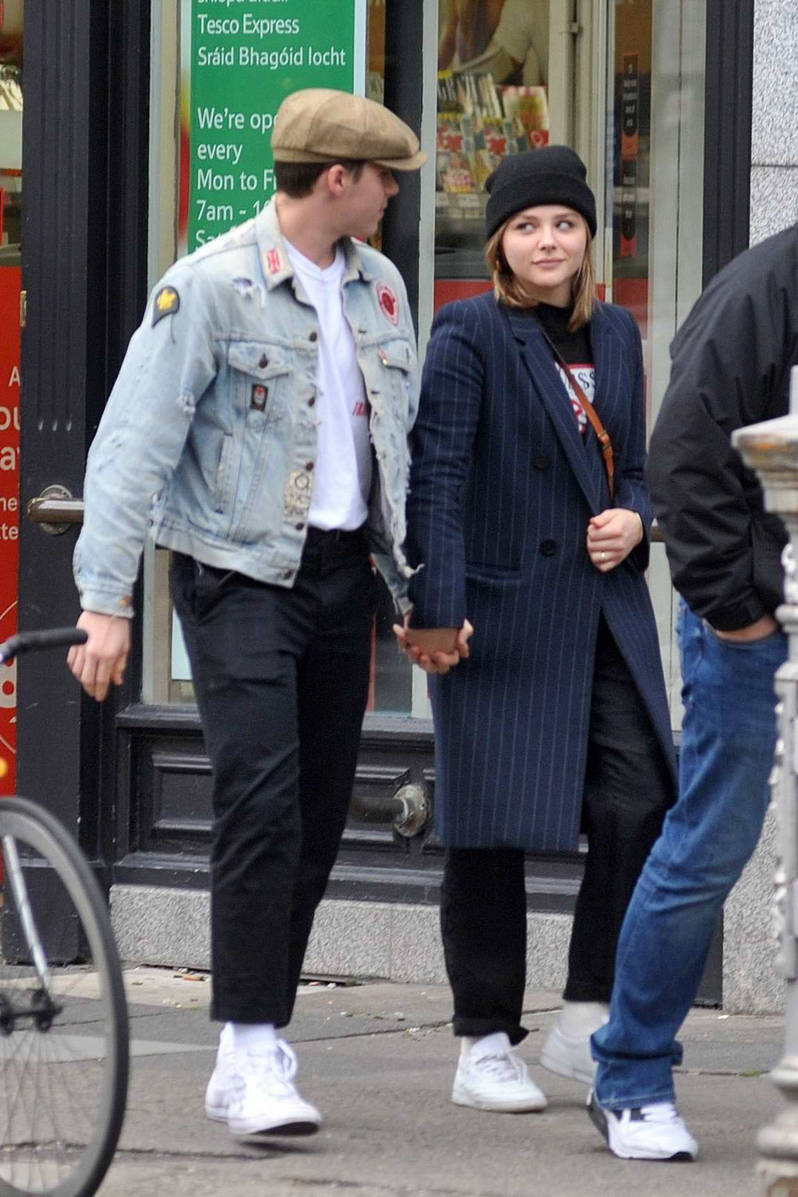 Chloe Grace Moretz and Brooklyn Beckham hold hands as they leave a Tesco Store in Dublin, Ireland