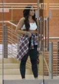 Demi Lovato in a crop top paired with a plaid shirt while out and about in Beverly Hills, Los Angeles