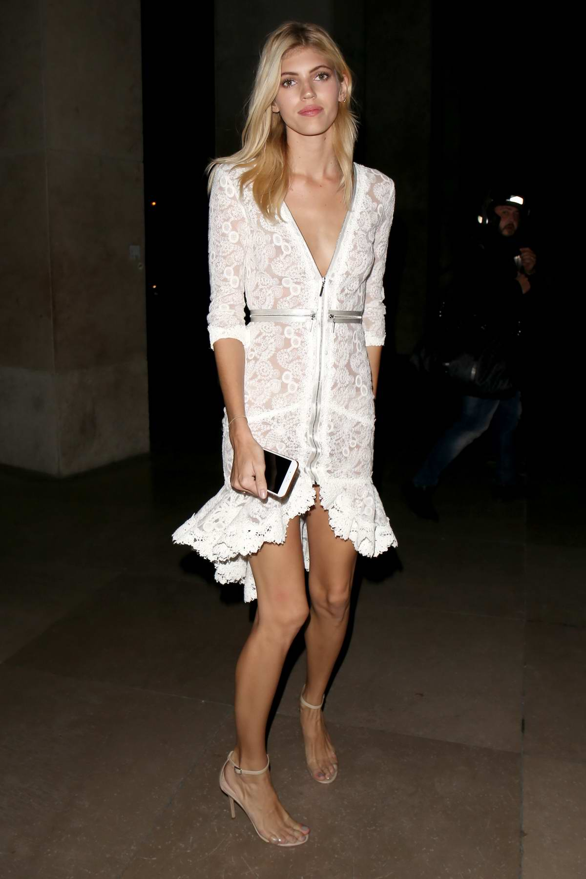 Devon Windsor arriving at CR Fashion Book Launch Party during Paris Fashion Week, France