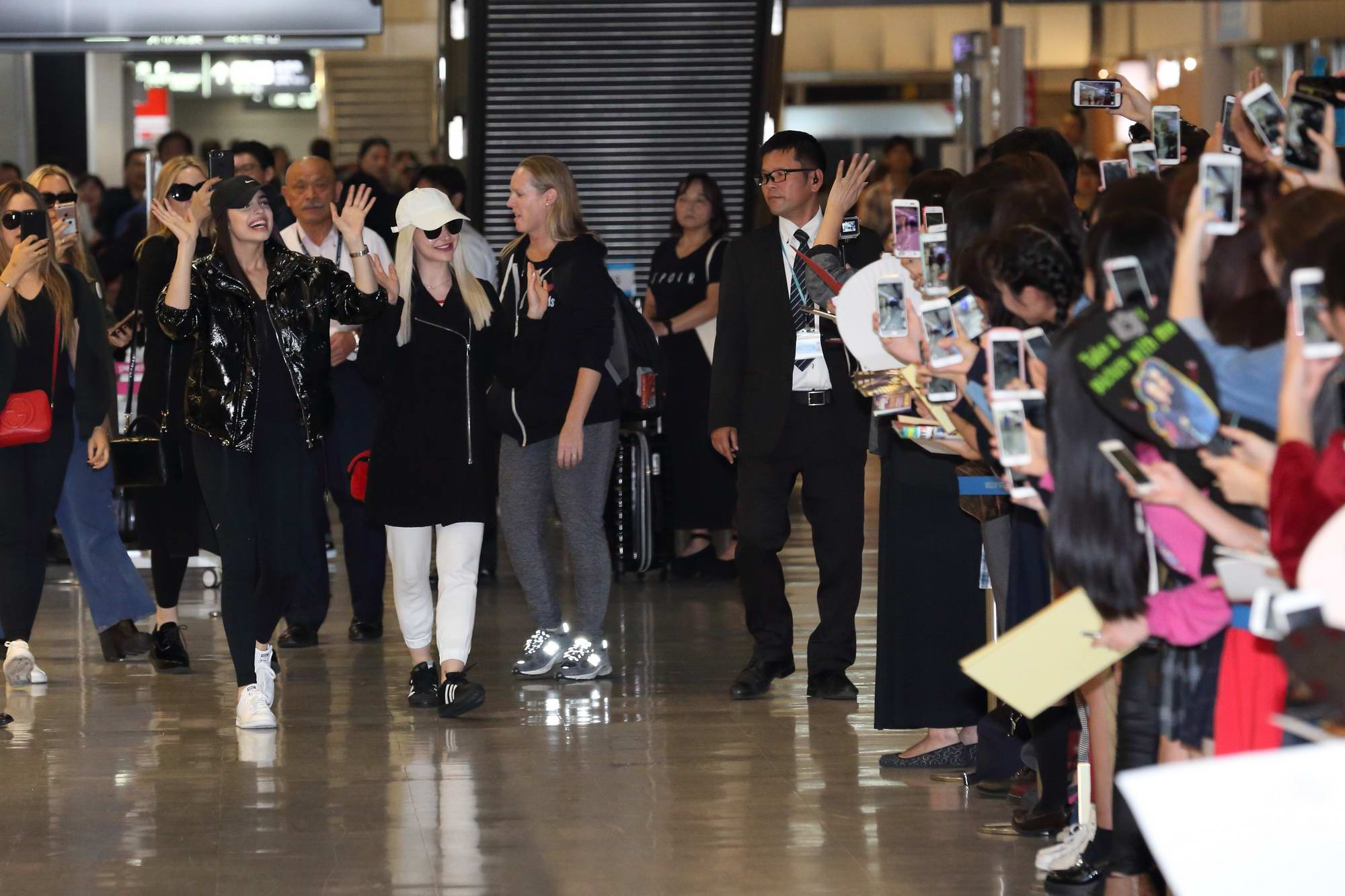 Dove Cameron and Sofia Carson seen arriving at Narita Airport to promote the Descendants 2 in Tokyo, Japan