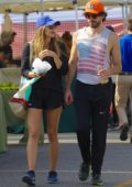 Elizabeth Olsen takes a walk with boyfriend Robbie Arnett after shopping at the Farmers Market in Studio City, Los Angeles