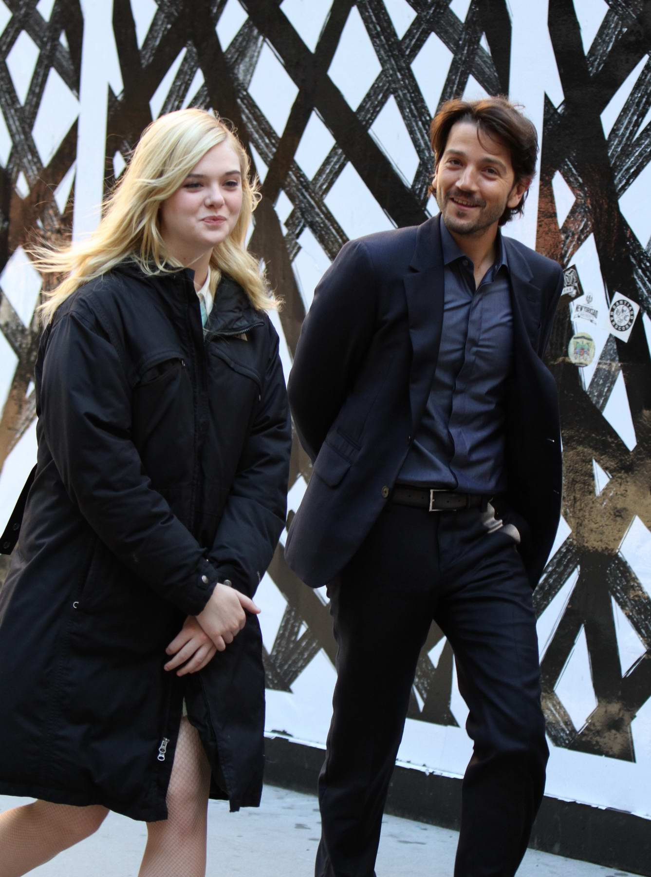 Elle Fanning and Diego Luna filming for Woody Allen project in SoHo, New York