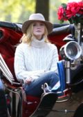Elle Fanning filming scenes for unittled Woody Allen project in Manhattan's Central Park in New York