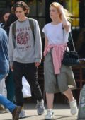 Elle Fanning out with her co-star Timothee Chalamet in downtown Manhattan, New York City