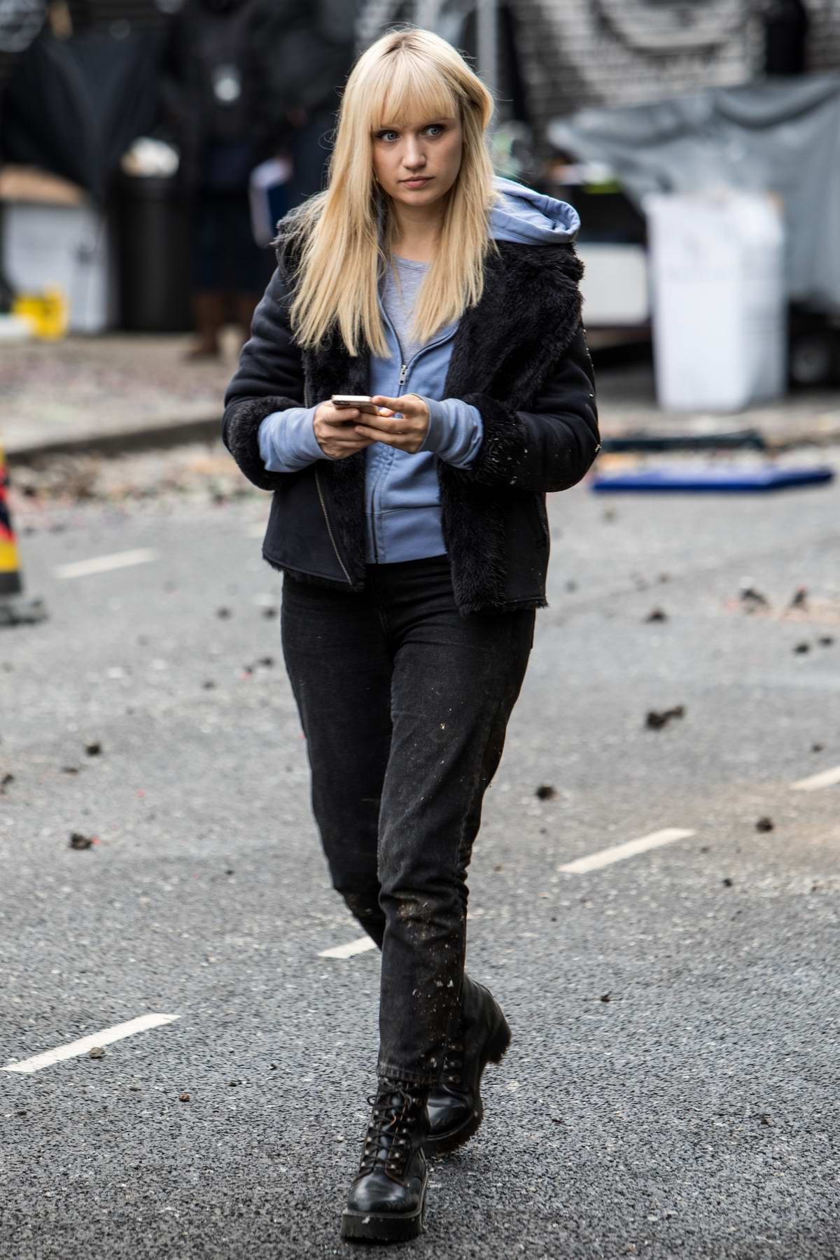 Emily Berrington filming a scene for the TV series Human in London