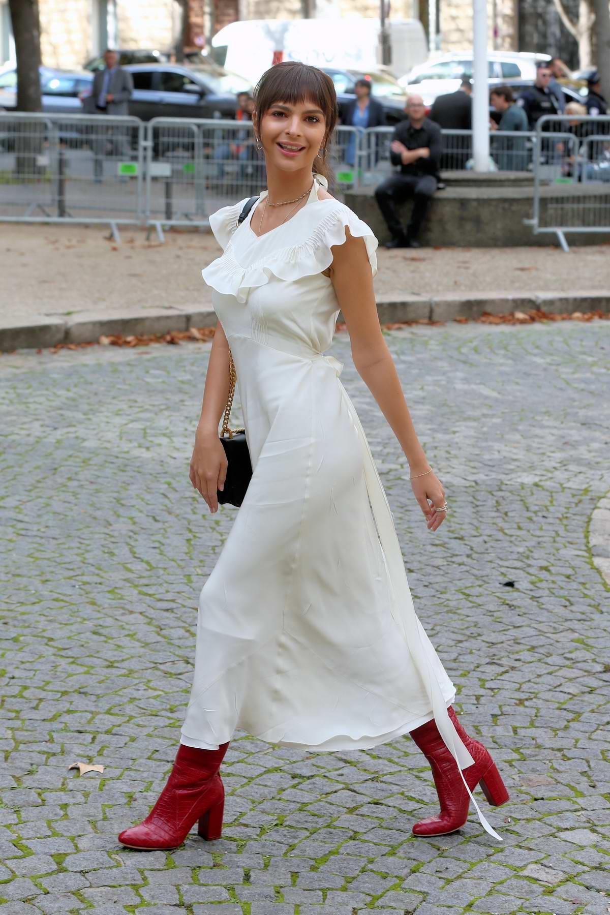 Emily Ratajkowski arrives at Miu Miu Show, spring summer 2018 during Paris Fashion Week, France