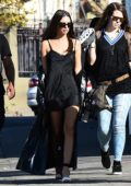 Emily Ratajkowski walking back to her trailer on the set of a movie in Los Angeles