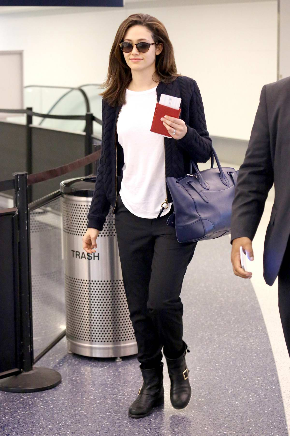 Emmy Rossum passing through the security at LAX Airport, Los Angeles
