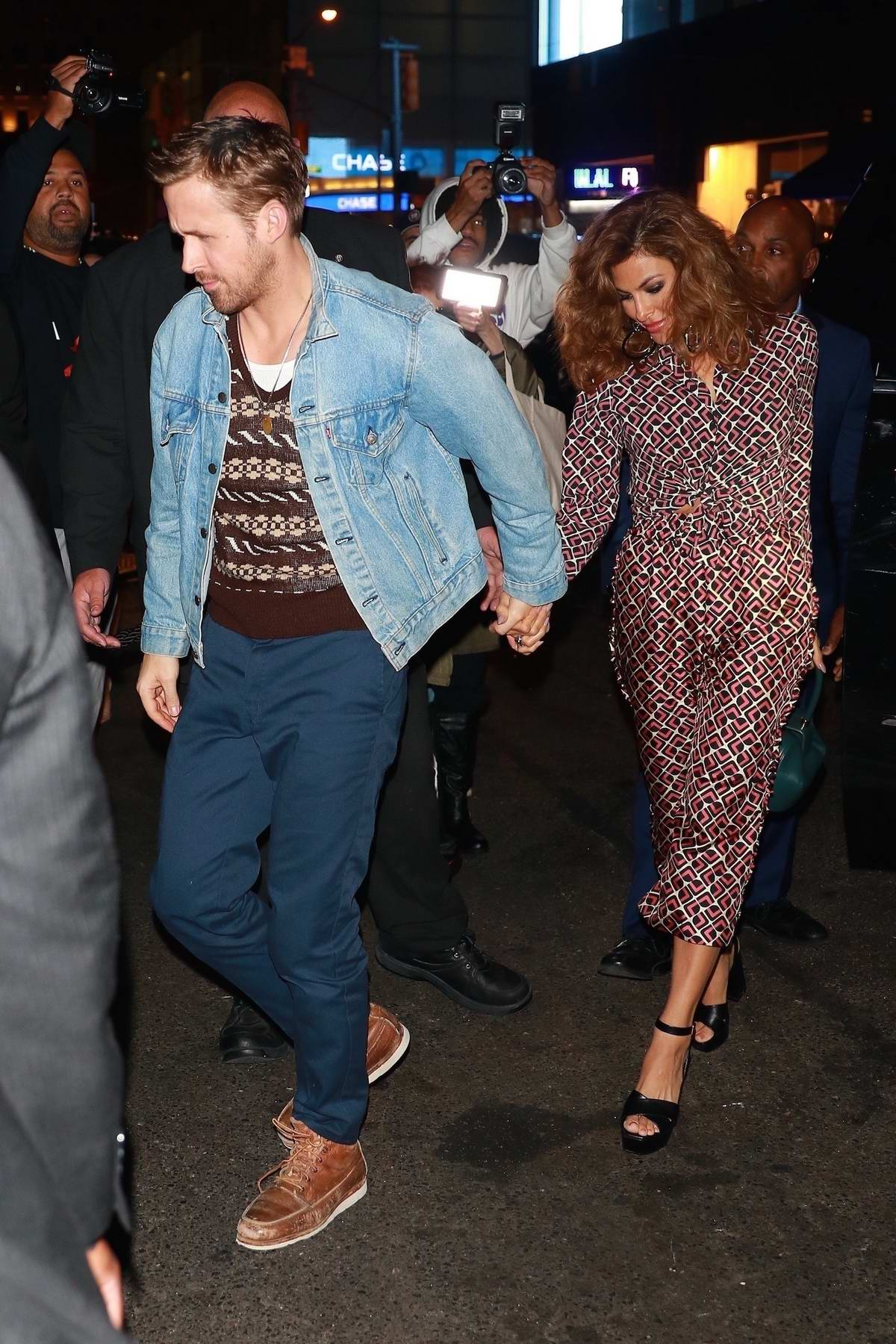 Eva Mendes and Ryan Gosling arrives for SNL after-party at TAO Restaurant in New York City