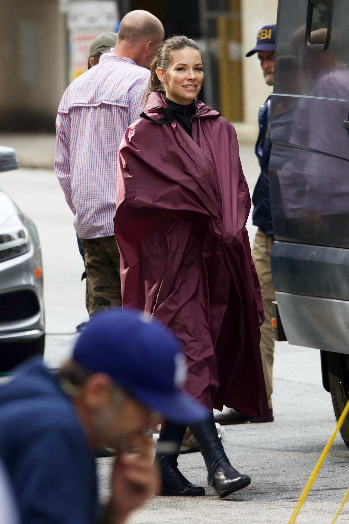 Evangeline Lilly arrives in full cape for filming 'Ant-Man and the Wasp' in Atlanta, Georgia