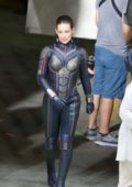 Evangeline Lilly on the set of Ant-Man and the Wasp in Atlanta