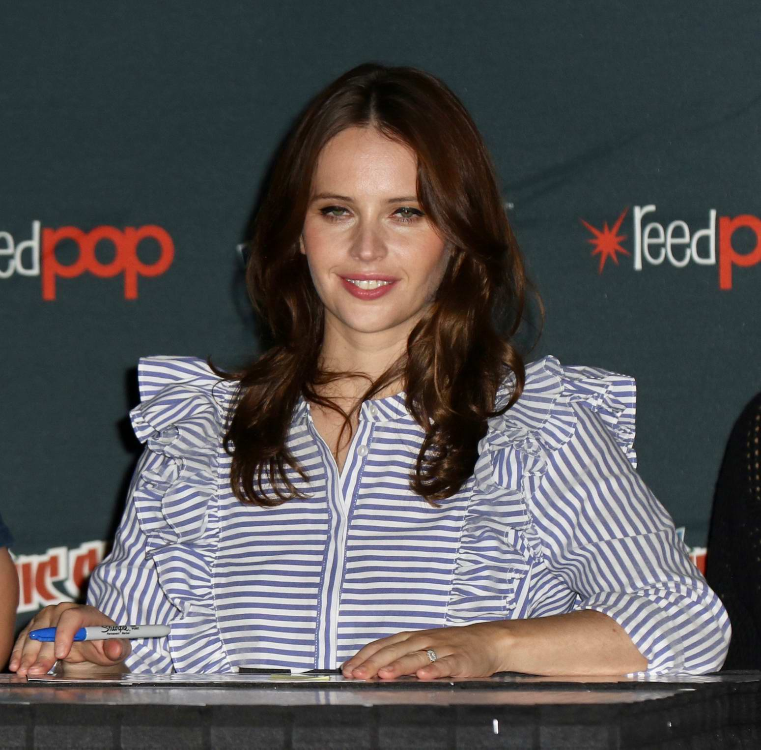 Felicity Jones attends the New York Comic-Con 2017 in New York