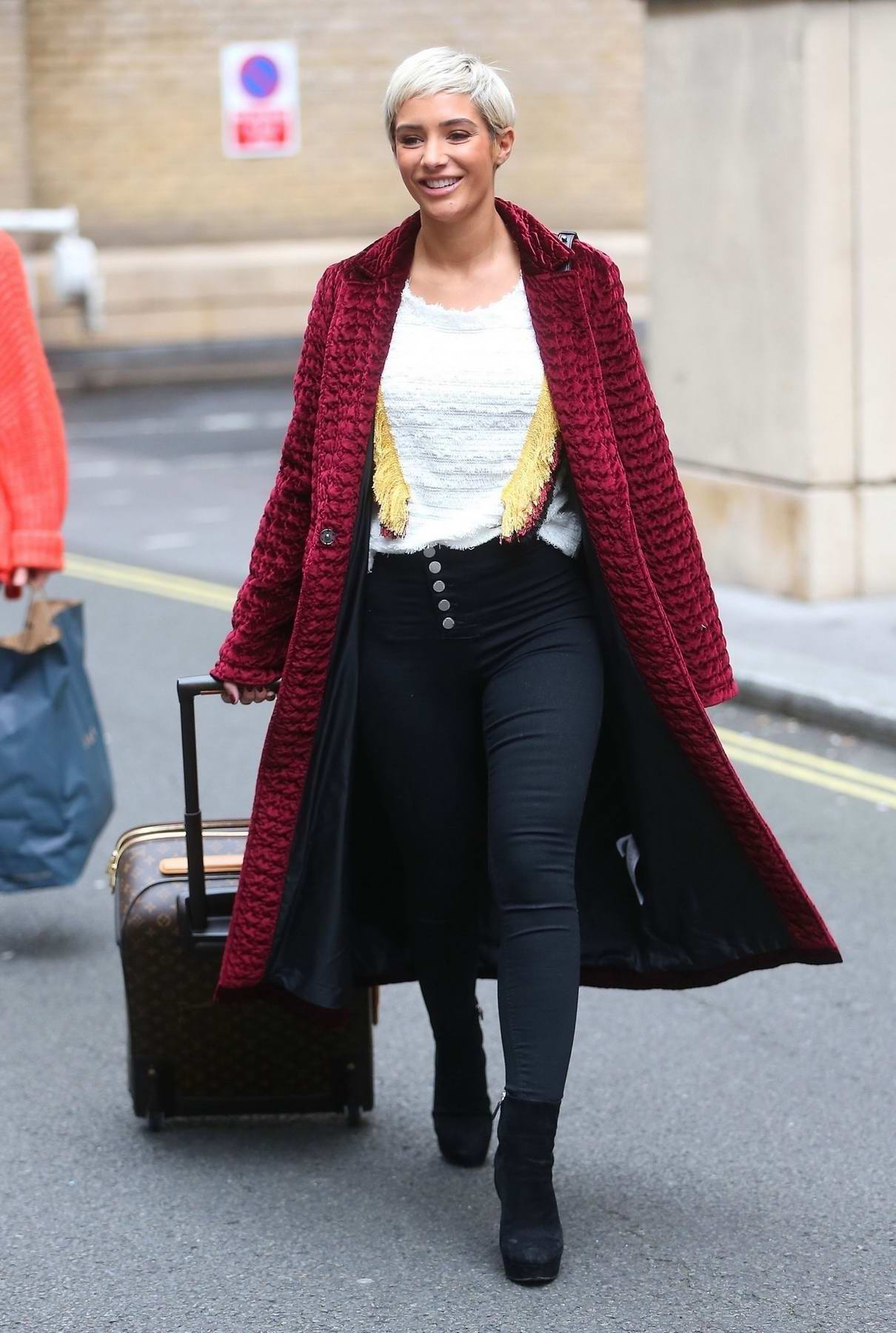 "Frankie Bridge leaving the topical show ""The Wright Stuff"" in Central London"