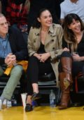 Gal Gadot enjoys her court side seat at the Lakers vs Clippers game at the Staples Center in Los Angeles