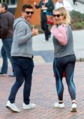 Gemma Atkinson enjoy some snack while arriving for her dance rehearsals in Manchester, UK