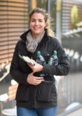 Gemma Atkinson out for some food and drinks during a rehersal break in Manchester, UK