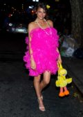Georgia Fowler in a pink dress spotted leaving a Halloween party in Chelsea, New York