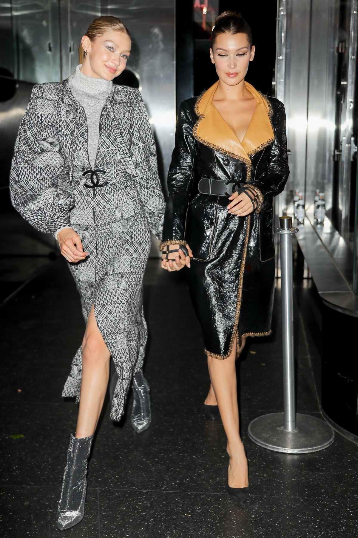 Gigi Hadid and Bella Hadid leaving V Magazine dinner in honor of Karl Lagerfeld in New York City
