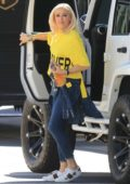 Gwen Stefani in a bright yellow t-shirt is seen out in Los Angeles