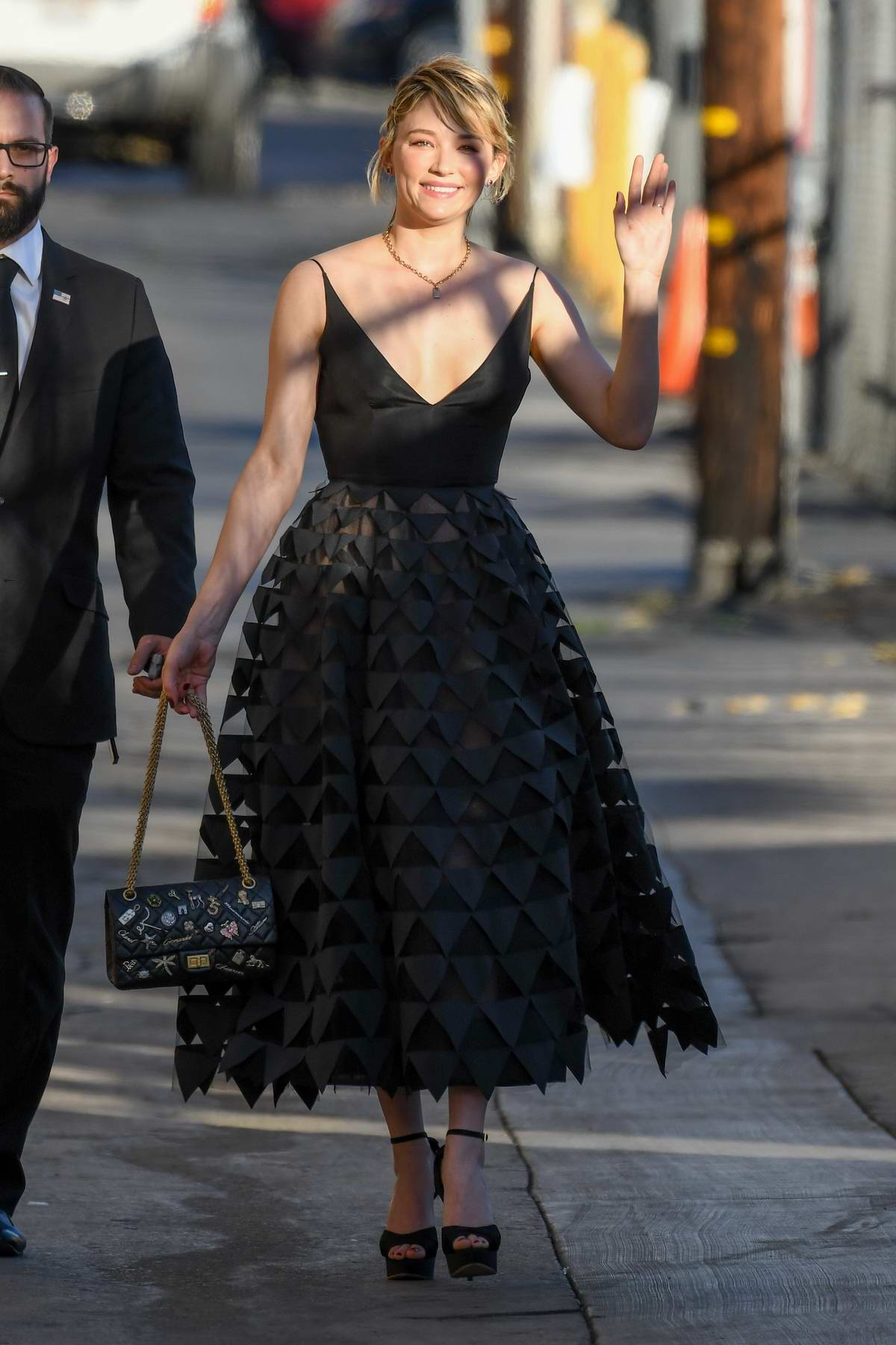 Haley Bennett arriving for Jimmy Kimel Live! in Hollywood, Los Angeles