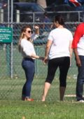 Hilary Duff attends her son Luca's baseball game in Los Angeles