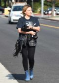 Hilary Duff seen leaving a salon in Los Angeles