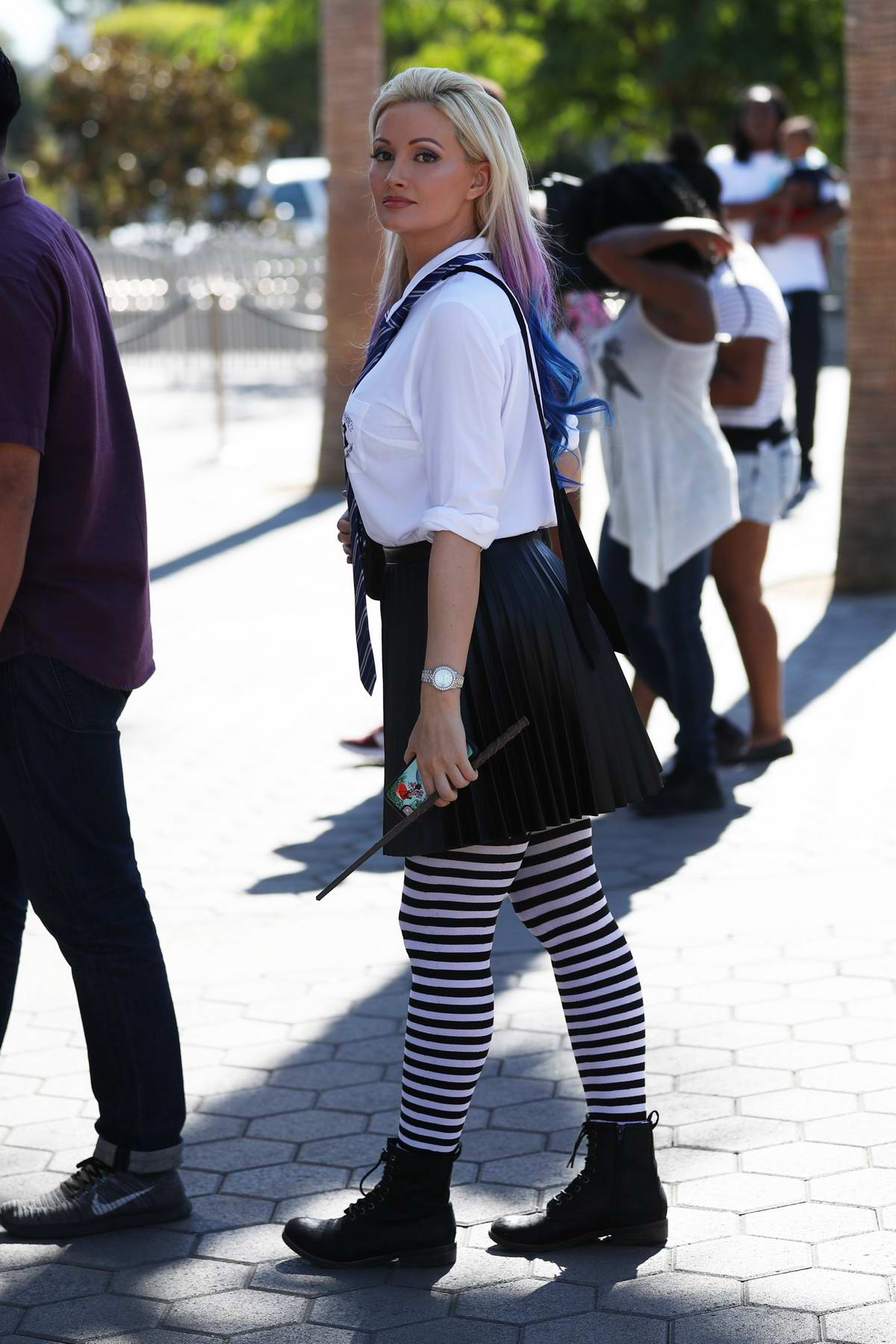 Holly Madison wears a Harry Potter outfit to Universal studios in Hollywood, Los Angeles