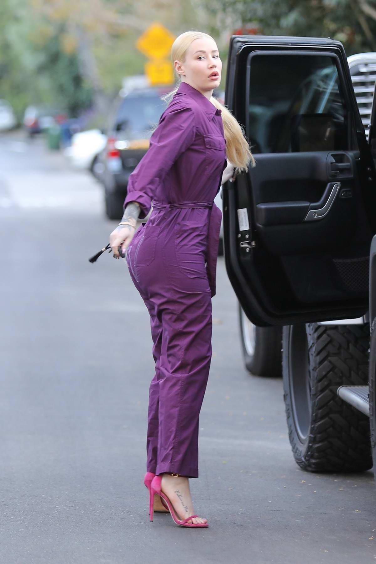 Iggy Azalea in a purple jumsuit arriving to a Halloween party in Studio City, Los Angeles