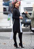 Irina Shayk arrive outside the L'Oreal show during Paris Fashion Week, France