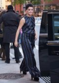 Jaimie Alexander is seen wearing stripes while she arrives at AOL Build in New York City