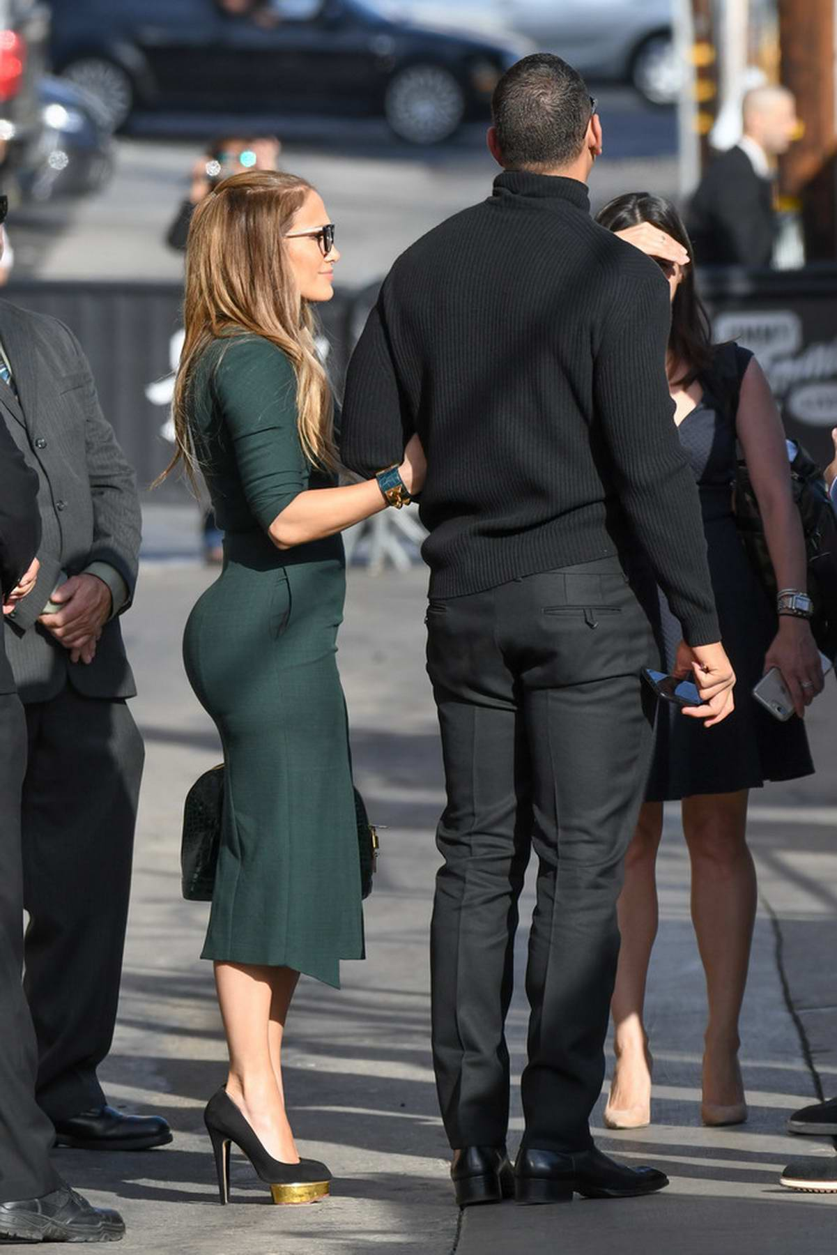 Jennifer Lopez and Alex Rodriguez are seen visiting Jimmy Kimmel Live in Hollywood, Los Angeles