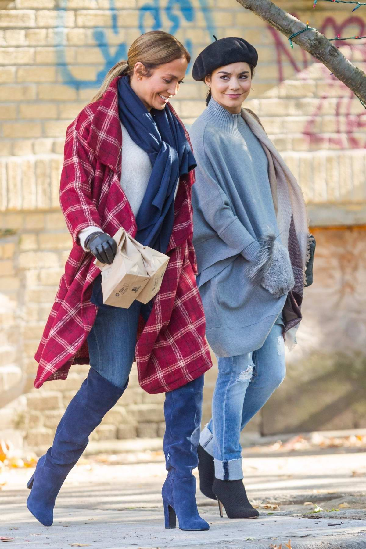 Jennifer Lopez and Vanessa Hudgens filming a scene on the set of 'Second Act' in New York City