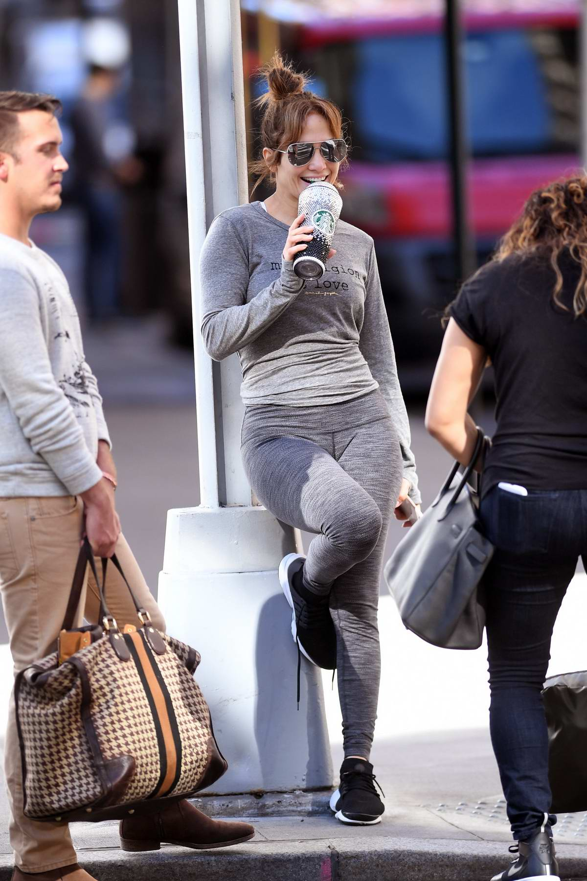 Jennifer Lopez spotted outside the gym in New York City