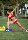 Jennifer Nicole Lee working up a sweat out on Miami Beach