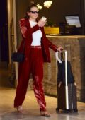 Jesinta Campbell Franklin in a red leather outfit leaves her hotel in Double Bay, New South Wales, Australia