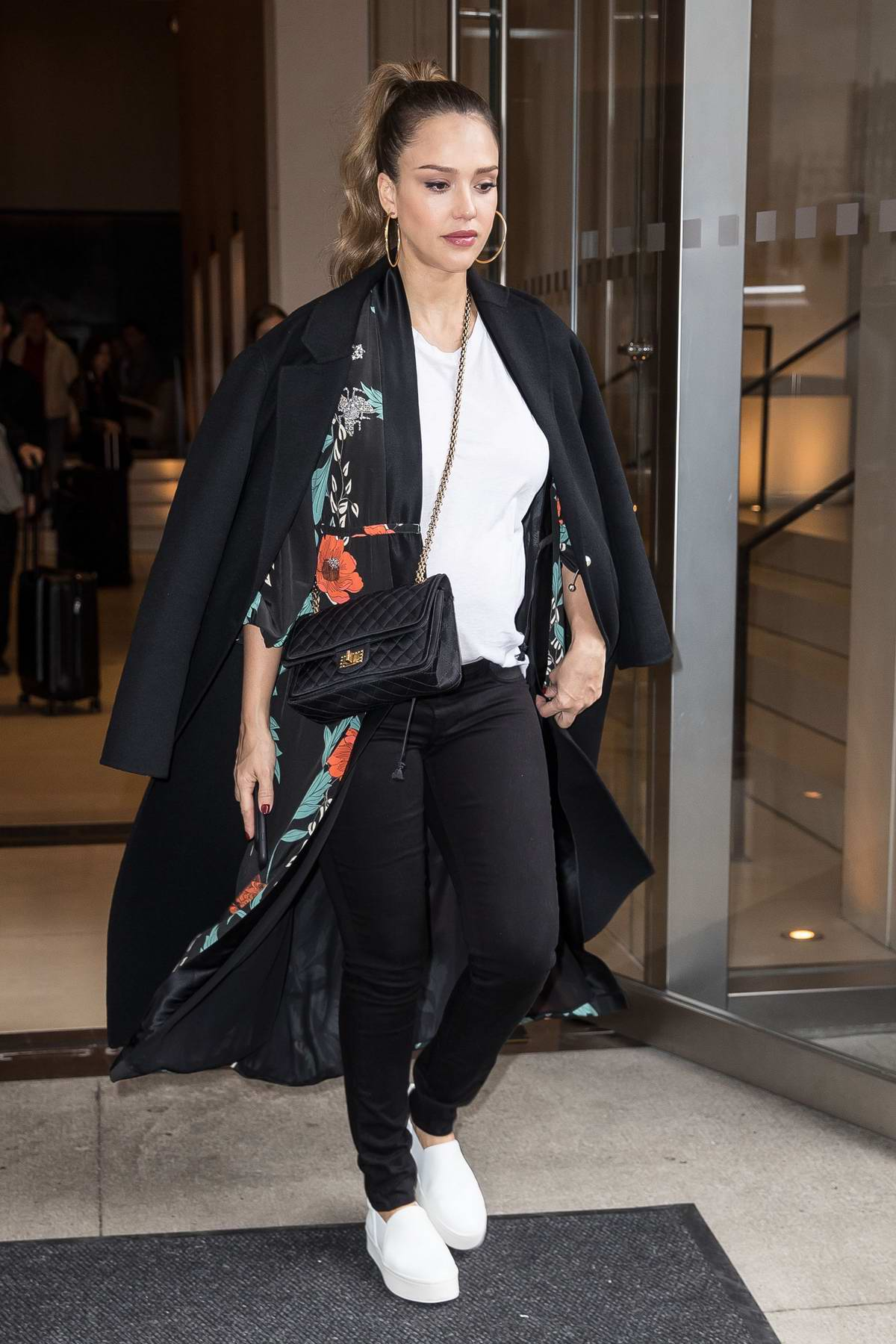 Jessica Alba steps out of her hotel in New York