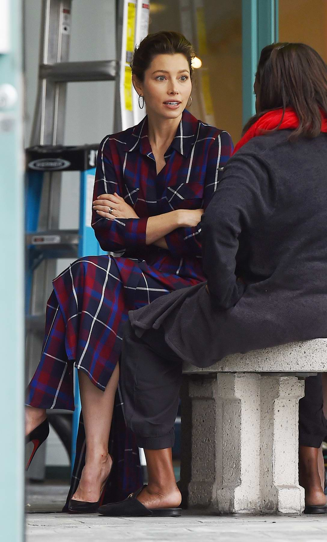 Jessica Biel wears plaid while hosting the launch of her new event space in West Hollywood, Los Angeles