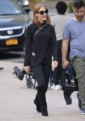 Jessica Chastain dressed in all black while out at Lincoln Center in New York City