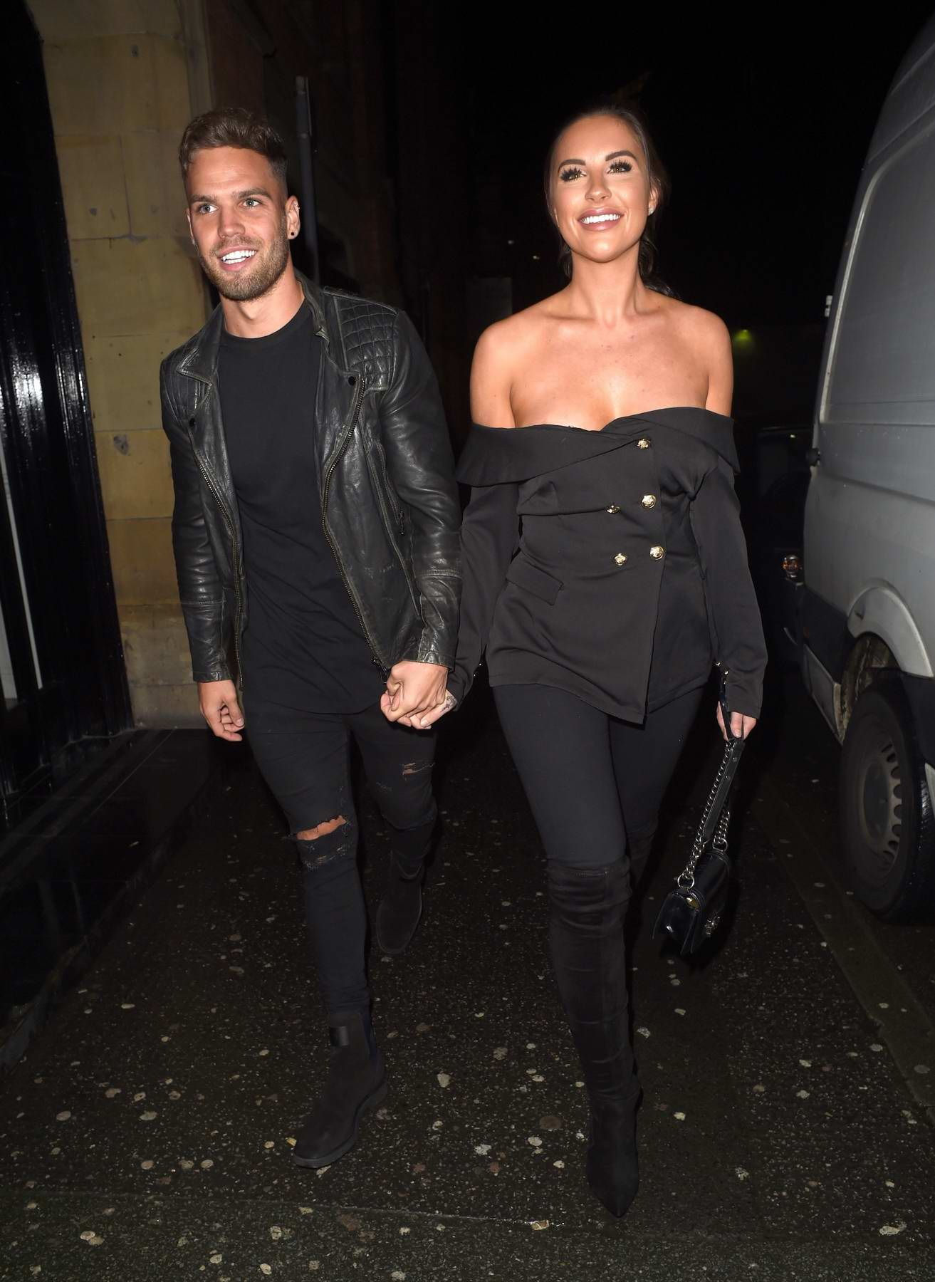 Jessica Shears and Dom Lever arrives at the Smoke House Cellar Bar and Restaurant in Manchester, UK