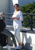 Jessica Wright dressed in all white lands at LAX Airport, Los Angeles